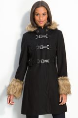 Kenneth Cole Hooded Coat with Faux Fur Trim - Lyst
