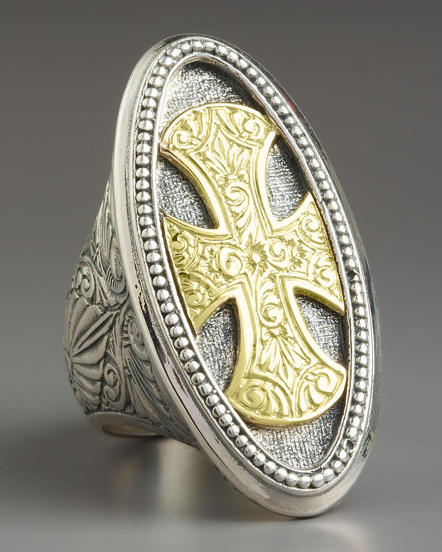 Konstantino Maltese Cross Ring In Metallic Lyst