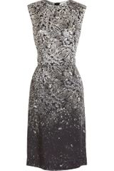 Lanvin Diamond Shift Dress in Gray (white) - Lyst