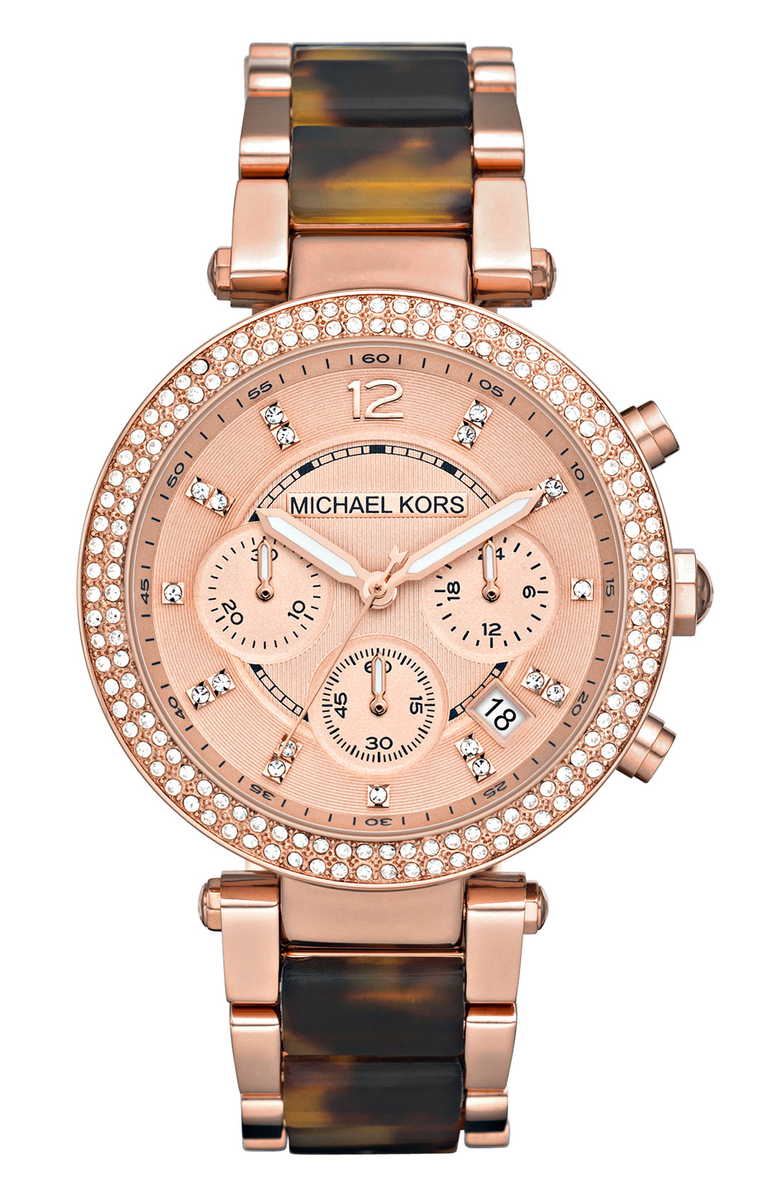 Michael michael kors michael kors 39 parker 39 chronograph watch in pink rose gold tortoise lyst for Watches michael kors