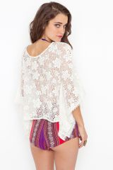 Nasty Gal Flower Child Top in Beige (cream) - Lyst