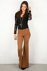 Nightcap Fleece Foldover Flare Pant In 2 Colors in Brown (tobacco) - Lyst