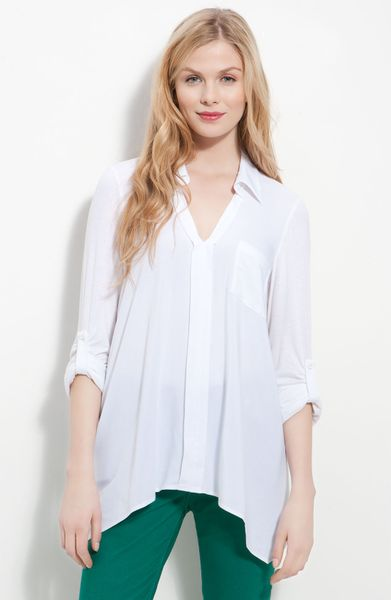 Pleione Split Neck Roll Sleeve Mixed Media Top in White - Lyst
