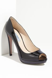 Prada Patent Leather Peep Toe Pump - Lyst