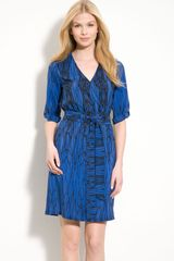 Presley Skye Print Silk Crêpe De Chine Surplice Dress - Lyst