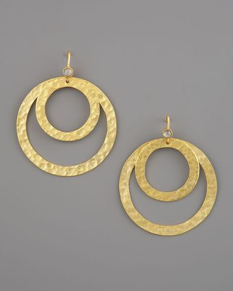 Stephanie Anne Hammered Round Paris Earrings - Lyst