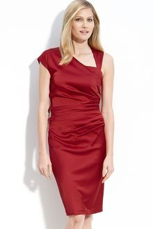Suzi Chin For Maggy Boutique Asymmetrical Stretch Satin Sheath Dress - Lyst
