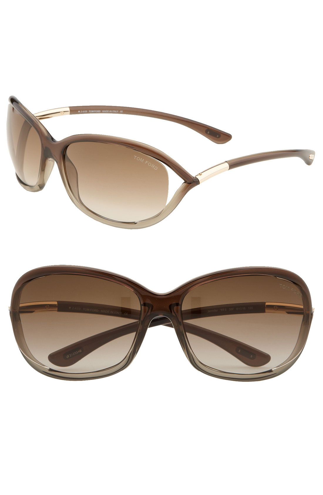 tom ford 39 jennifer 39 61mm oval frame sunglasses in brown brown. Cars Review. Best American Auto & Cars Review