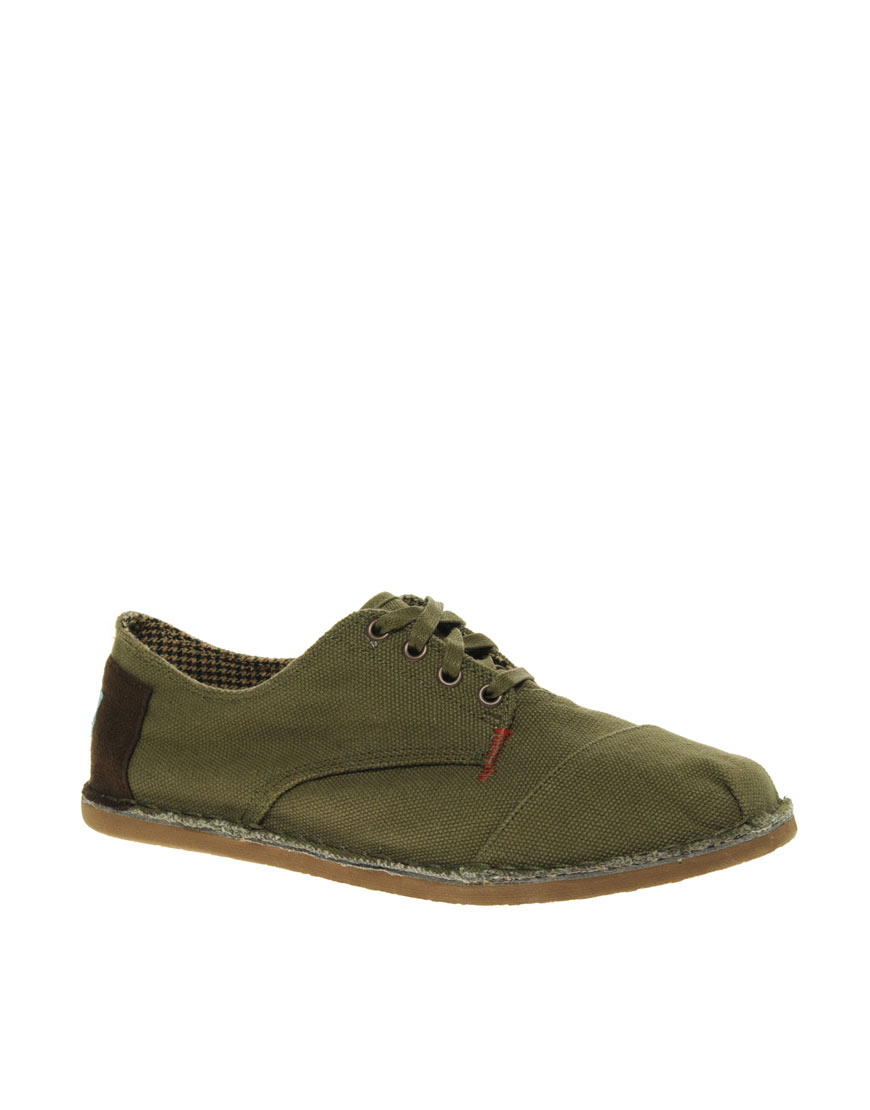 toms desert oxford canvas shoes in green for lyst