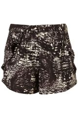 Topshop Co-ord Oil Feather Short - Lyst