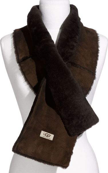 ugg shearling scarf in brown chocolate lyst