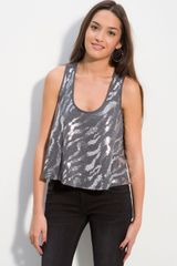 Wallpapher Sequin Zebra Stripes Tank in Silver (grey) - Lyst