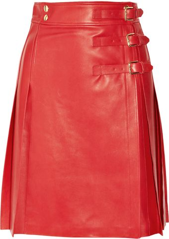 Yves Saint Laurent Pleated Leather Wrap Skirt - Lyst
