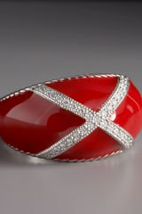 Zasha Diamond Enamel Ring, Red - Lyst