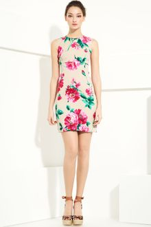Dolce & Gabbana Floral Print Stretch Charmeuse Shift Dress - Lyst