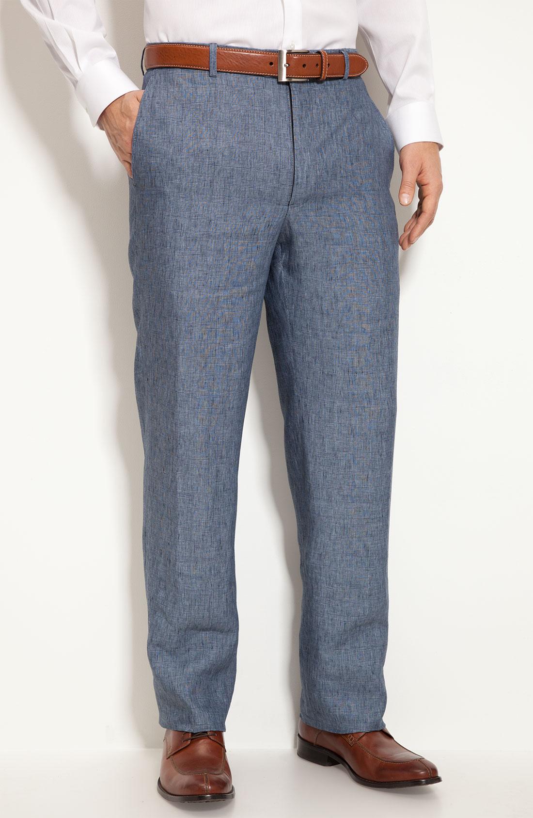 John W. Nordstrom® Plaid Linen Pants in Blue for Men (navy ...