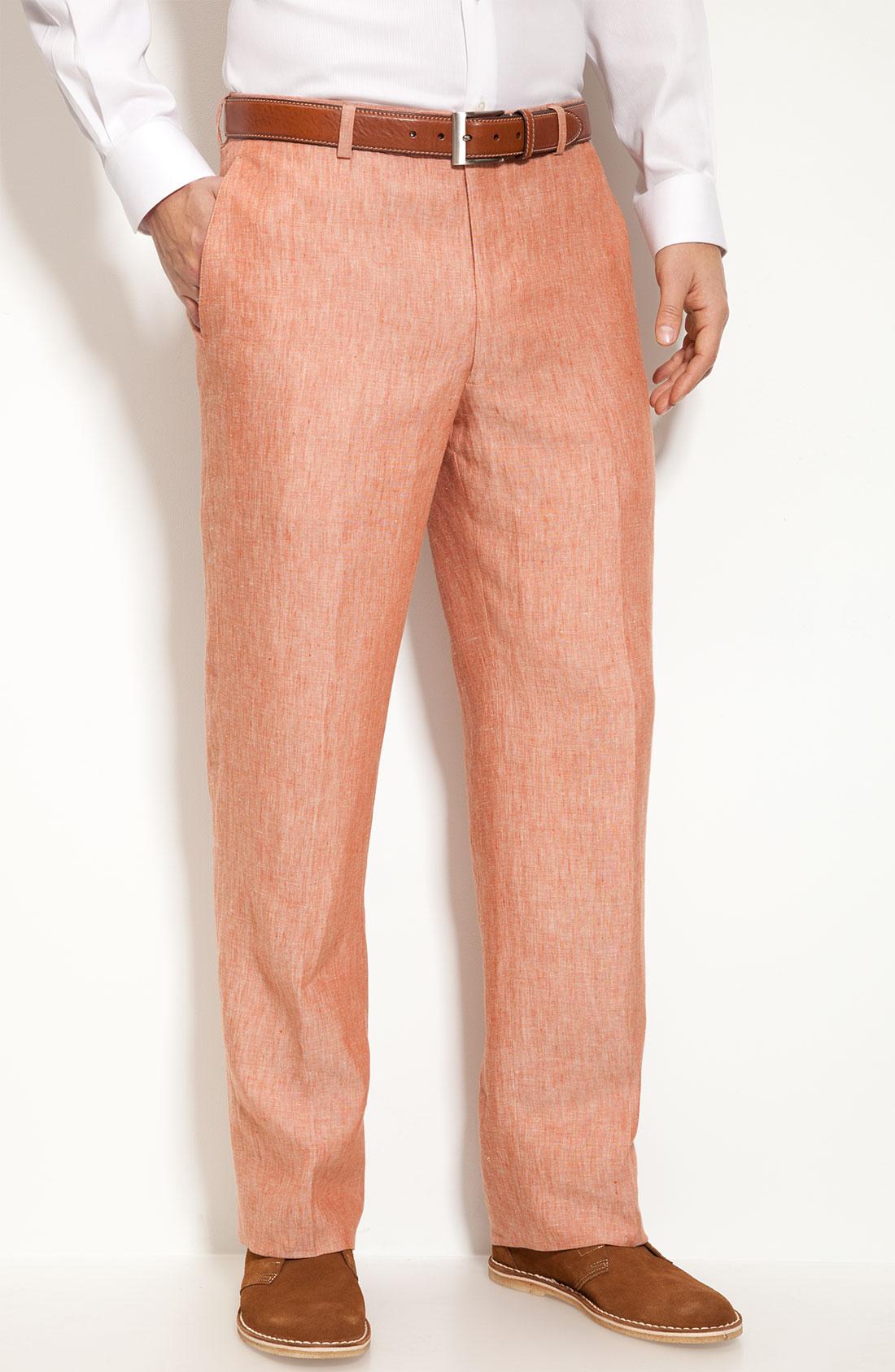John w. nordstrom Novelty Flat Front Linen Pants in Orange for Men ...