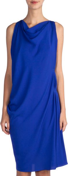 Lanvin Pintuck Dress in Blue - Lyst