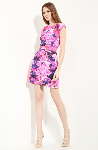 Roberto Cavalli Floral Print Cap Sleeve Dress in Purple (fuchsia) - Lyst