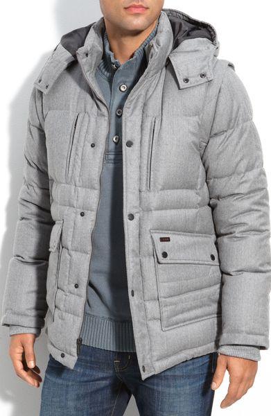 Tumi Wool Blend Hooded Down Jacket In Gray For Men Light