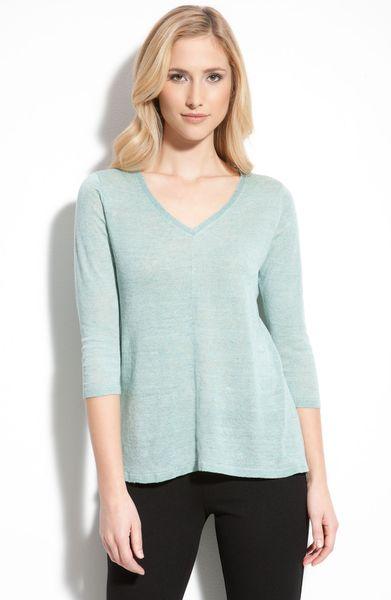 Eileen Fisher V Neck Linen Sweater In Blue Sea Lyst