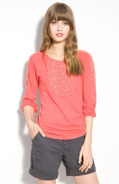 Lucky Brand Elli Lace Trim Top in Purple (melontini) - Lyst