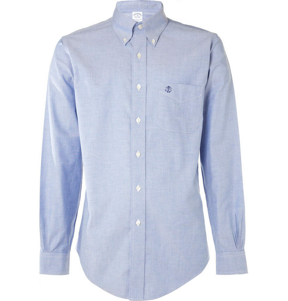 Brooks Brothers Button Down Collar Oxford Shirt In Blue