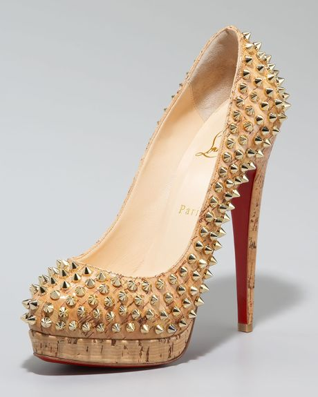 Christian Louboutin Altipump Spike Cork Pumps in Gold (natural gold) - Lyst