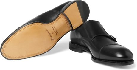 Gucci Double Monk-strap Leather Shoes in Black for Men
