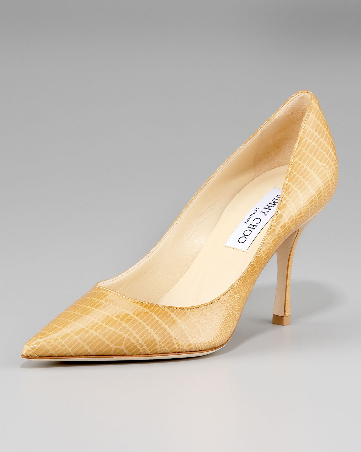 953df854dd70 Lyst - Jimmy Choo Lizard-print Pointed Pump in Natural