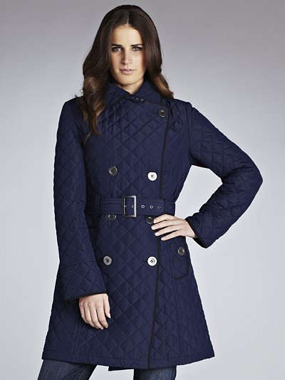 John Lewis Women Quilted Trench Coat Navy In Blue Navy