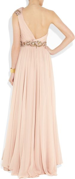 women s one shoulder embellished chiffon Final sale this stunningly beautiful dress will have everyone asking where you found it the one shoulder embellished chiffon designer dress comes in two great color choices.