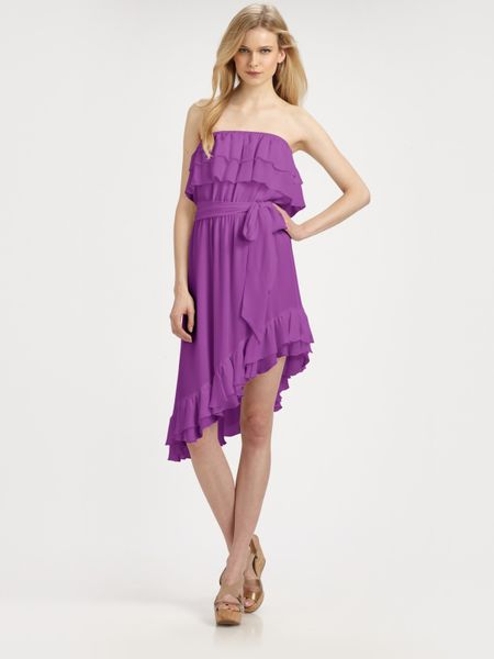 Haute Hippie Strapless Ruffle Dress with Belt in Purple (violet) - Lyst