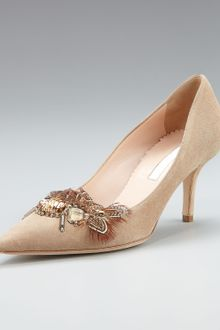 Oscar de la Renta Feather-brooch Suede Pump - Lyst