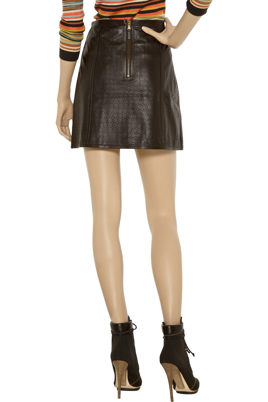 tibi perforated leather skirt in brown lyst