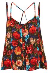 Topshop Bright Floral Cross Back Cami - Lyst