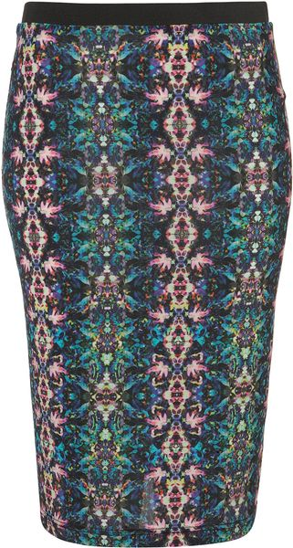 Topshop Kaleidoscope Print Pencil Skirt - Lyst