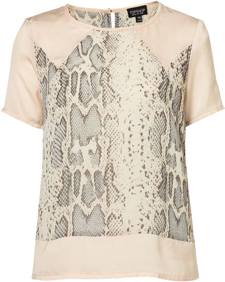 Topshop Snake Panel Short Sleeve Tee in Pink (pale pink)