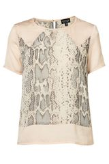 Topshop Snake Panel Short Sleeve Tee in Pink (pale pink) - Lyst