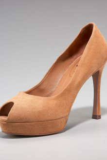 Yves Saint Laurent Peep-toe Suede Pump - Lyst