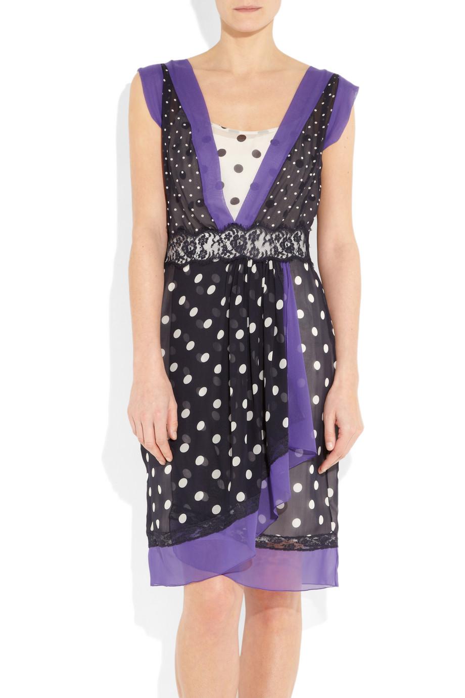 Lyst Alberta Ferretti Polka Dot Silk Chiffon Dress In Blue