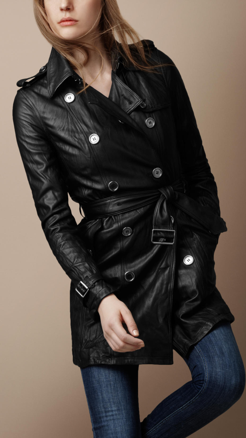 burberry brit soft leather trench coat in black lyst. Black Bedroom Furniture Sets. Home Design Ideas