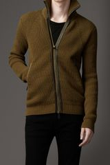 Burberry Cotton and Wool Knit Jacket - Lyst