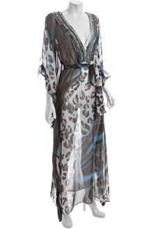 Diane Von Furstenberg Leotiger Printed Beaded Annushka Long Swim Coverup - Lyst