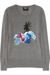 Markus Lupfer Palm Tree Sequined Merino Wool Sweater - Lyst