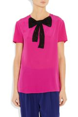 Miu Miu Lacebow Silk Top in Purple (fuchsia) - Lyst