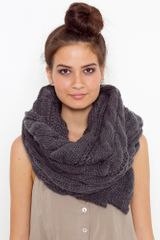 Nasty Gal Oversized Cable Knit Scarf - Charcoal - Lyst