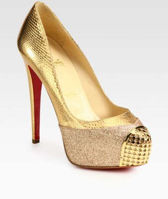 Christian Louboutin Maggie Glitter-coated Metallic Snake-print Leather Platform Pumps - Lyst
