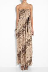 Tibi Strapless Lurex Leopard Print Maxi Dress in Animal (leopard) - Lyst