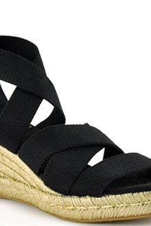 Tory Burch Bridee - Black Canvas Espadrille Wedge Sandal - Lyst